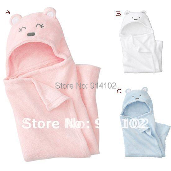 Winter Infanil Hooded Blanket Baby Coral Fleece sleep bag Baby swaddling Pink/blue/white Drop shipping