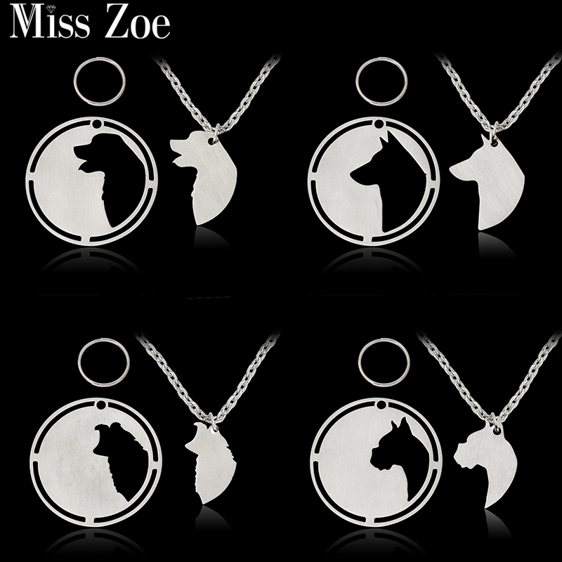 2pcs/set Golden Labrador Husky Border Collie German Shepherd Labradoodle Pendant Necklace Dog Tag Silver Pet Animal Jewelry Gift