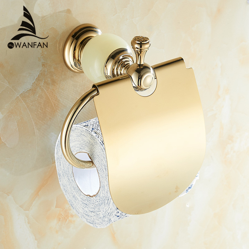 Wall Mount Jade & Brass Gold Paper Box Roll Holder Toilet Gold Paper Holder Tissue Box Bathroom Accessories Free Shipping HY-40 retro kitchen toilet paper holder roll tissue holder bathroom accessories antique brass wall mount eu stock