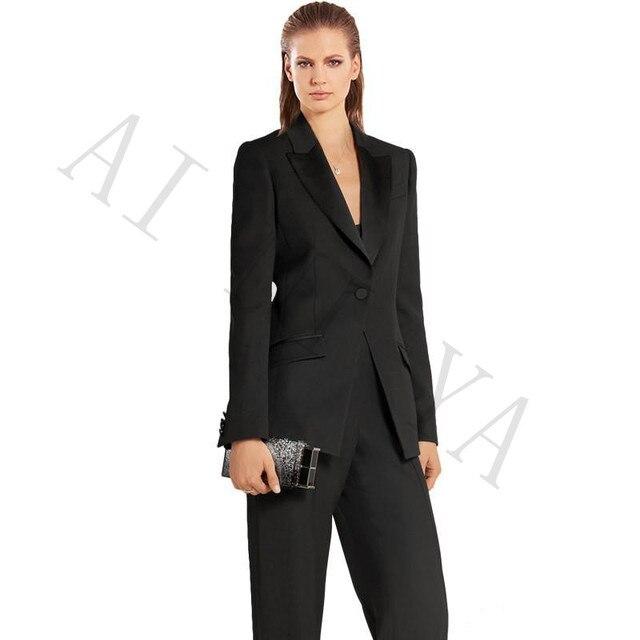 10370569f15 Jacket+Pants Women Business Suits Blazer Black One Button Female Office  Uniform Formal Black Satin