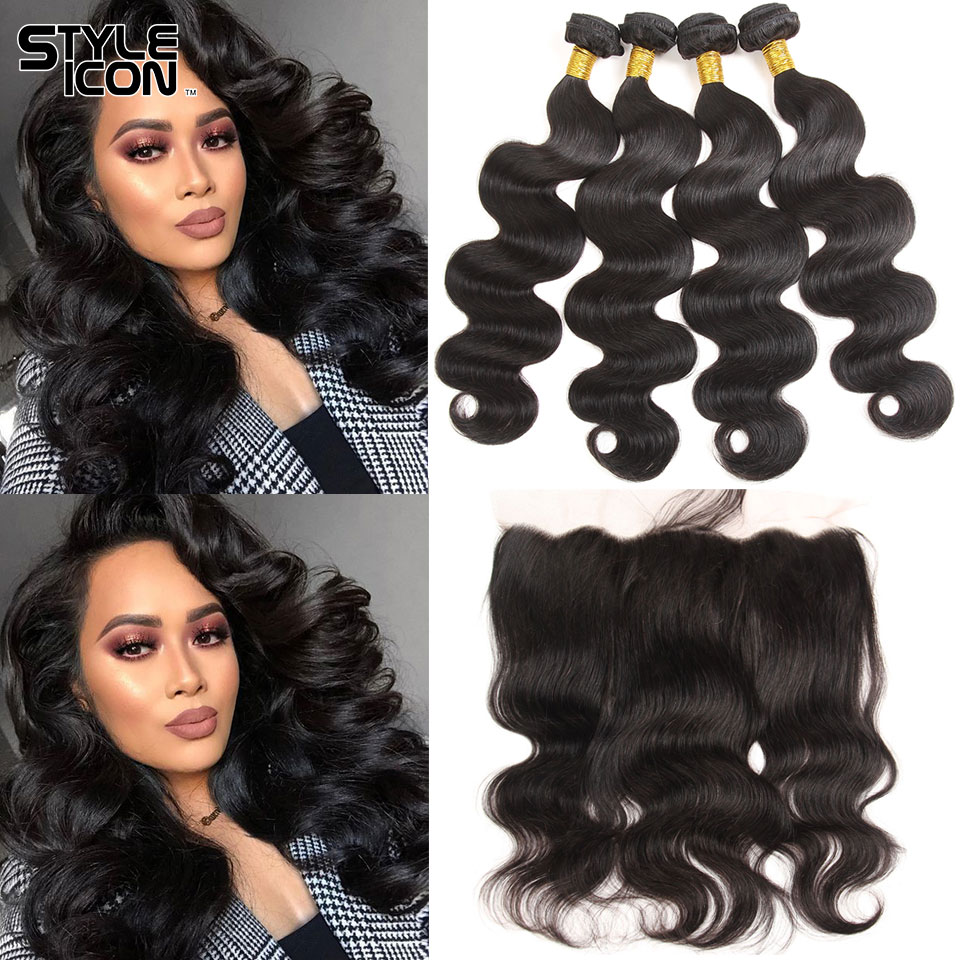 Styleicon Malaysian Body Wave Bundles With Frontal 2 3 4 Bundles Human Hair Weaving With Lace Frontal Non-Remy Hair With Frontal