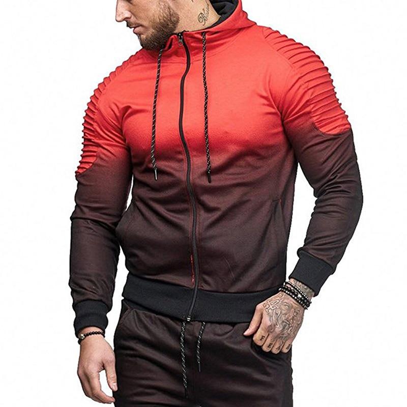 Mens Hoodies Brand Fashion 3D  printing gradient Color Sweatshirt Male Hooded Hip Hop  Zip Outwear Autumn Windbreak Jackets