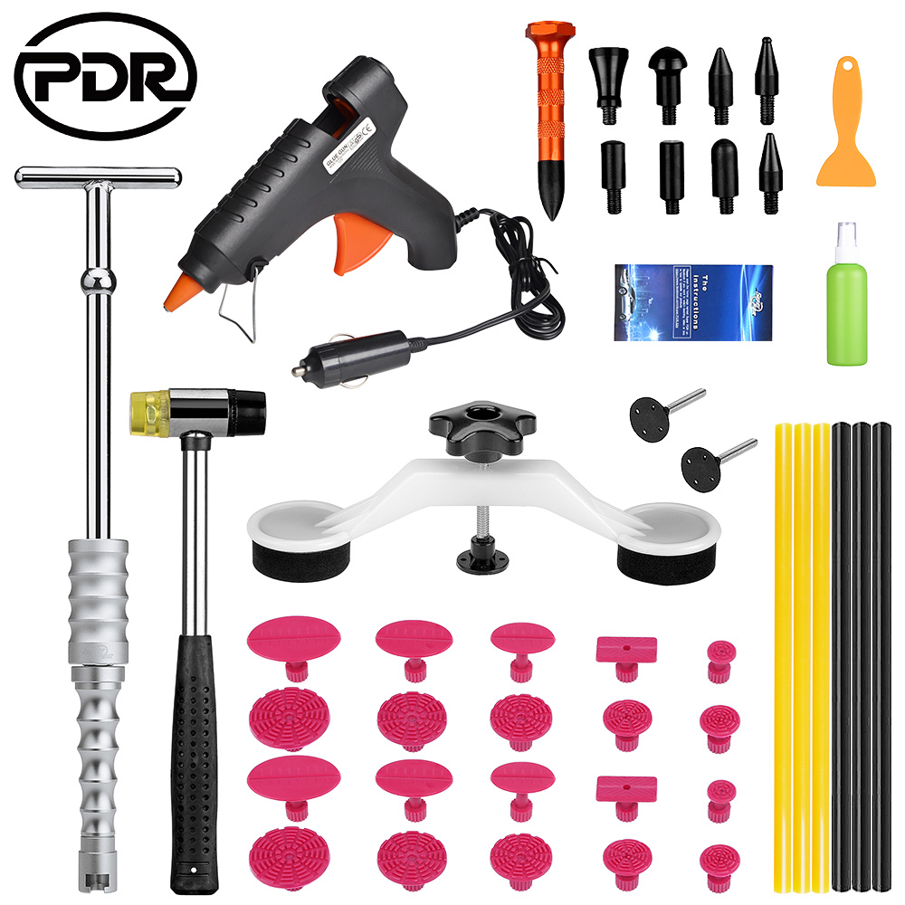 PDR Tools Kit Paintless Dent Removal Tool To Remove Dents Removing Dents Ding Hail Repair Car Body Massage Vehicle Tool Set car dents repair removal garage tools induction heating auto bodywork dent and ding repair remove diy kit straightening dents