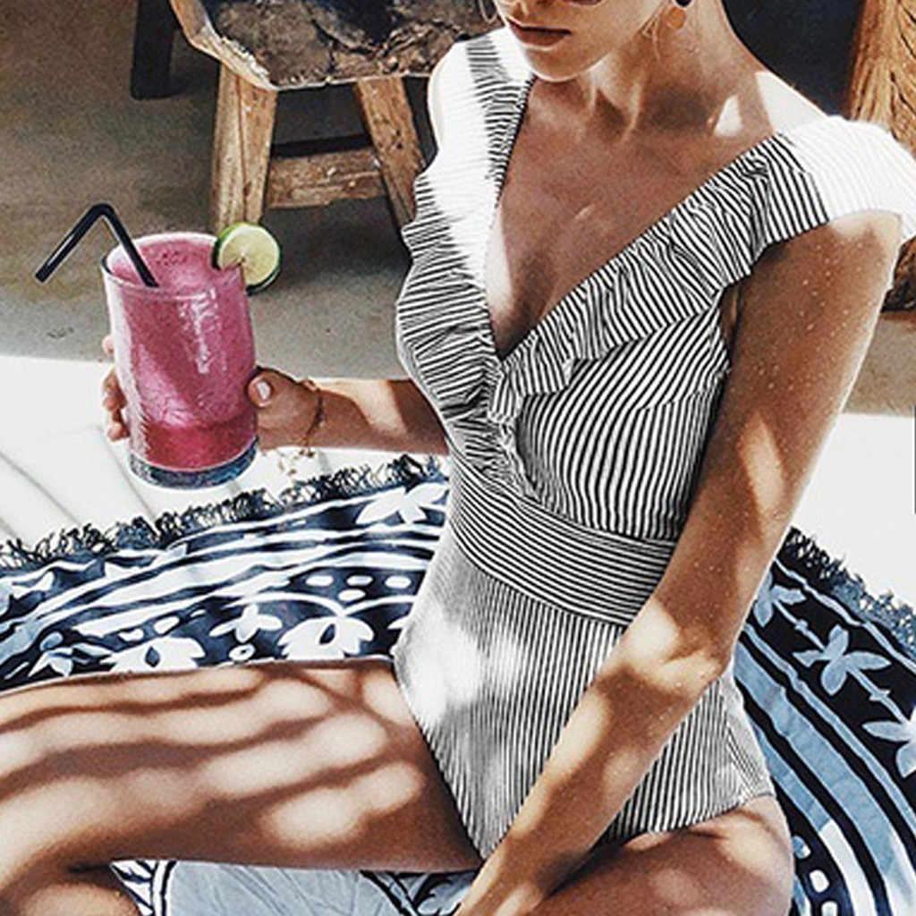 2020 Sexy kobiet Retro V Neck niebieski pasiasty strój kąpielowy jednoczęściowy potargane Push Up wyściełane wysokiej talii stroje kąpielowe kobiety Monokini kombinezon