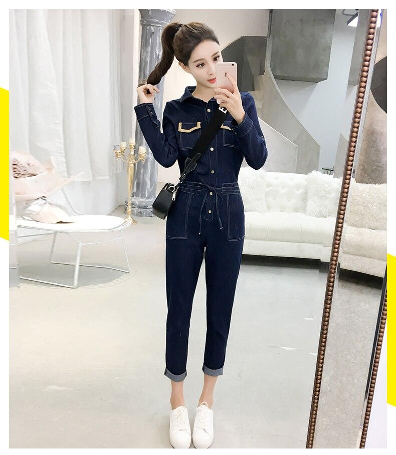 Autumn Jumpsuits Casual Jeans For Women Patchwork One Piece Pants Pockets Bodysuit Women Combinaison Femme Overalls Female 12