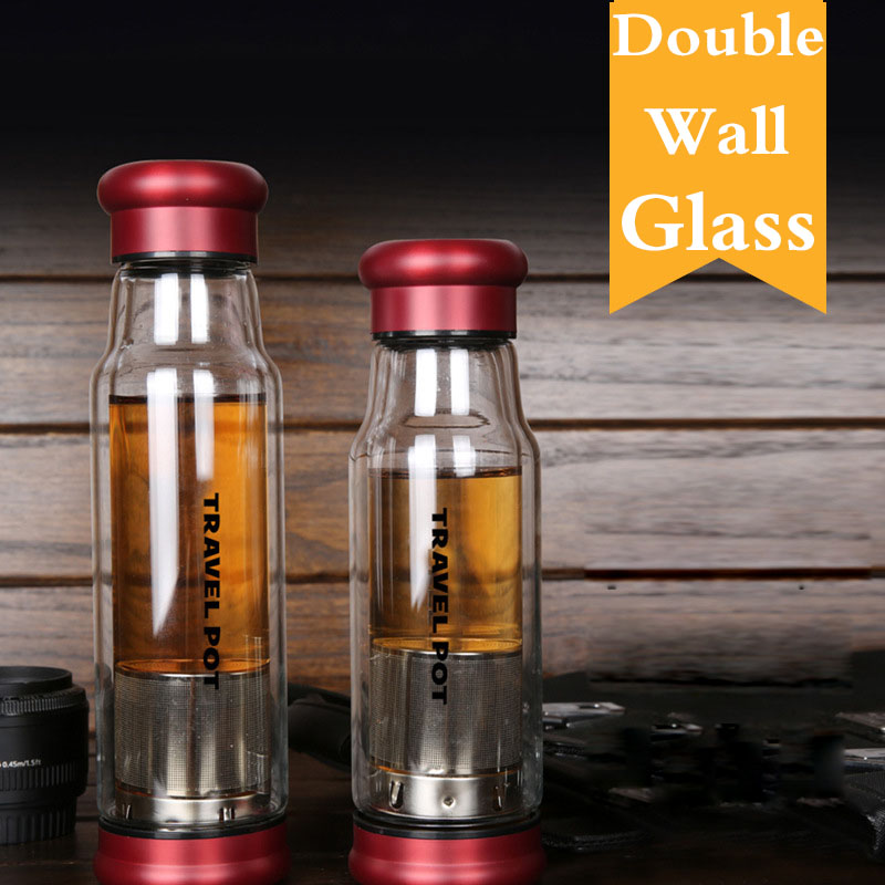 Portable Brief Knight Drinkware Water Bottles Tour Double Wall Glass Bottle with Filter Lid 350ml 500ml Direct Drinking Gifts