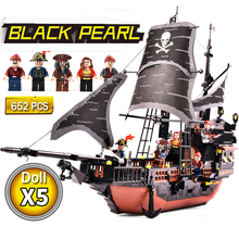 LWKO Pirates Caribbean Black Pearl Ghost Ship large Models Building Blocks Compatible With Legoe educational Toys For Children