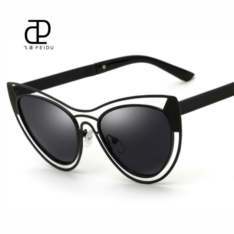 a7b6f8d0f75586 FEIDU Femmes Cat Eye Lunettes de Soleil de Haute Qualité Revêtement Miroir  Lunettes De Soleil de Marque Classique lunettes de Soleil De Mode Oculos De  Sol