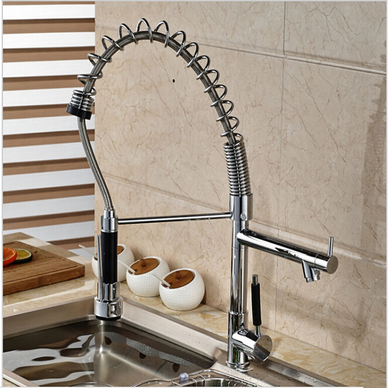 Hot Sale Wholesale And Retail Luxury Spring Kitchen Faucet Dual Spouts Swivel Bar Vessel Vanity Tap