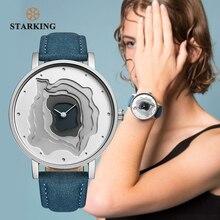 STARKING Reloj de pulsera Retro de piel azul, diseño de tierra, reloj sencillo, de cuarzo, femenino