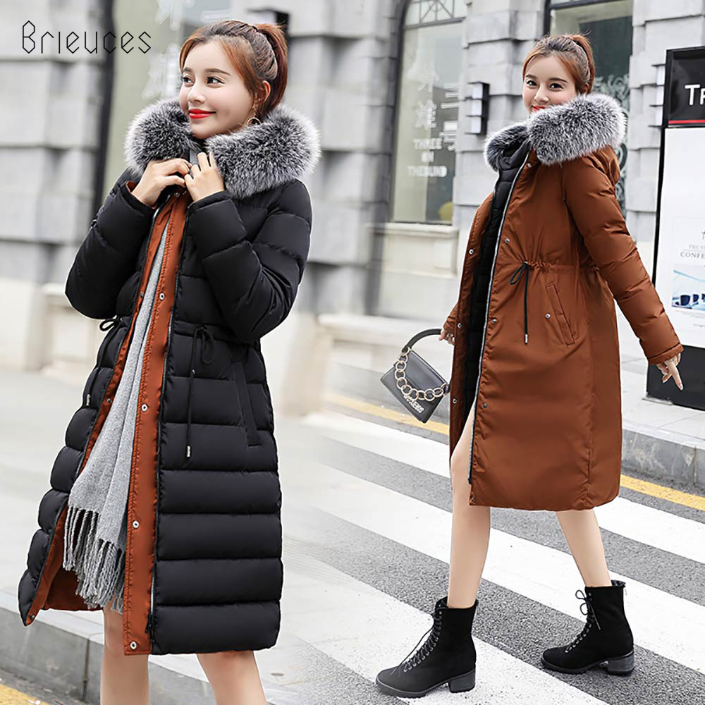 2018 New Warm Two Sides Wear Down Cotton Artificial Fur Collar hooded Women's Coat Jacket Winter Jacket Women Long   Parkas