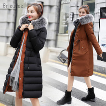 купить 2018 New Warm Two Sides Wear Down Cotton Artificial Fur Collar hooded Women's Coat Jacket Winter Jacket Women Long Parkas в интернет-магазине