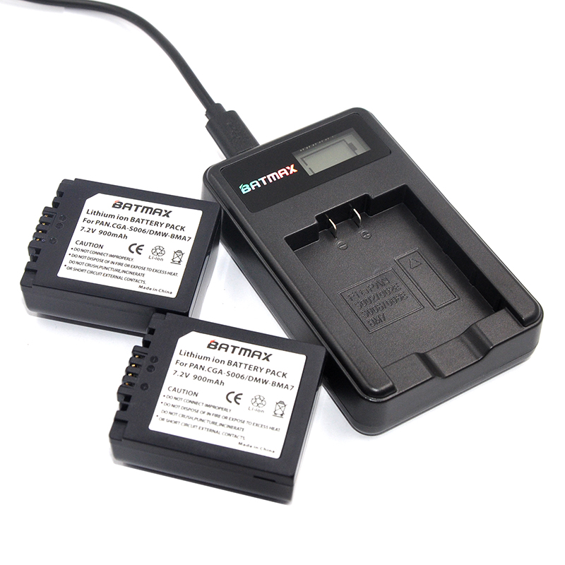 2X CGA-S006 S006 DMW-BMA7 S006A CGR-S006E Battery +LCD USB Charger for Panasonic Lumix DMC-FZ7 FZ8 FZ18 FZ28 FZ30 FZ35 FZ38 FZ50 rs3008 wired shutter release for panasonic lumix dmc fz20 fz30 fz50 lc1 1m cable