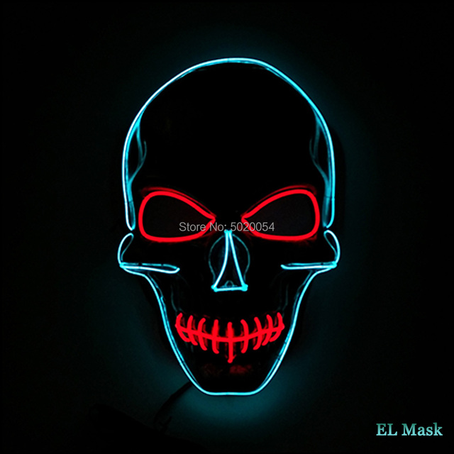 Skull Face Horrorible EL Wire Mask Halloween LED Luminous Mask Scary Face Glowing Mask Drop Shipping