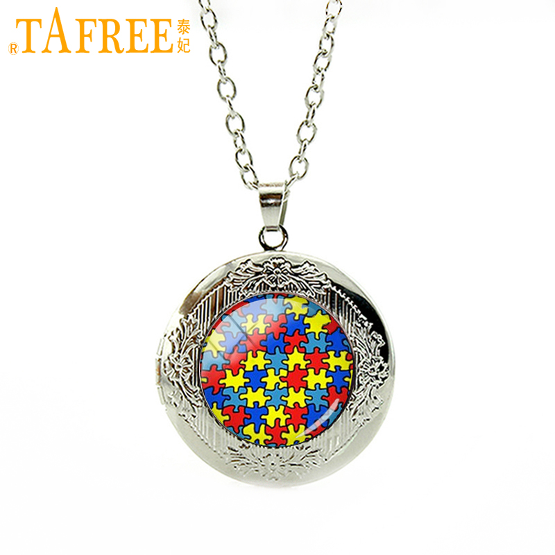 TAFREE most popular character locket necklace Autism Puzzle, Heart fashion wedding groom jewelry for women or men's Gifts T525
