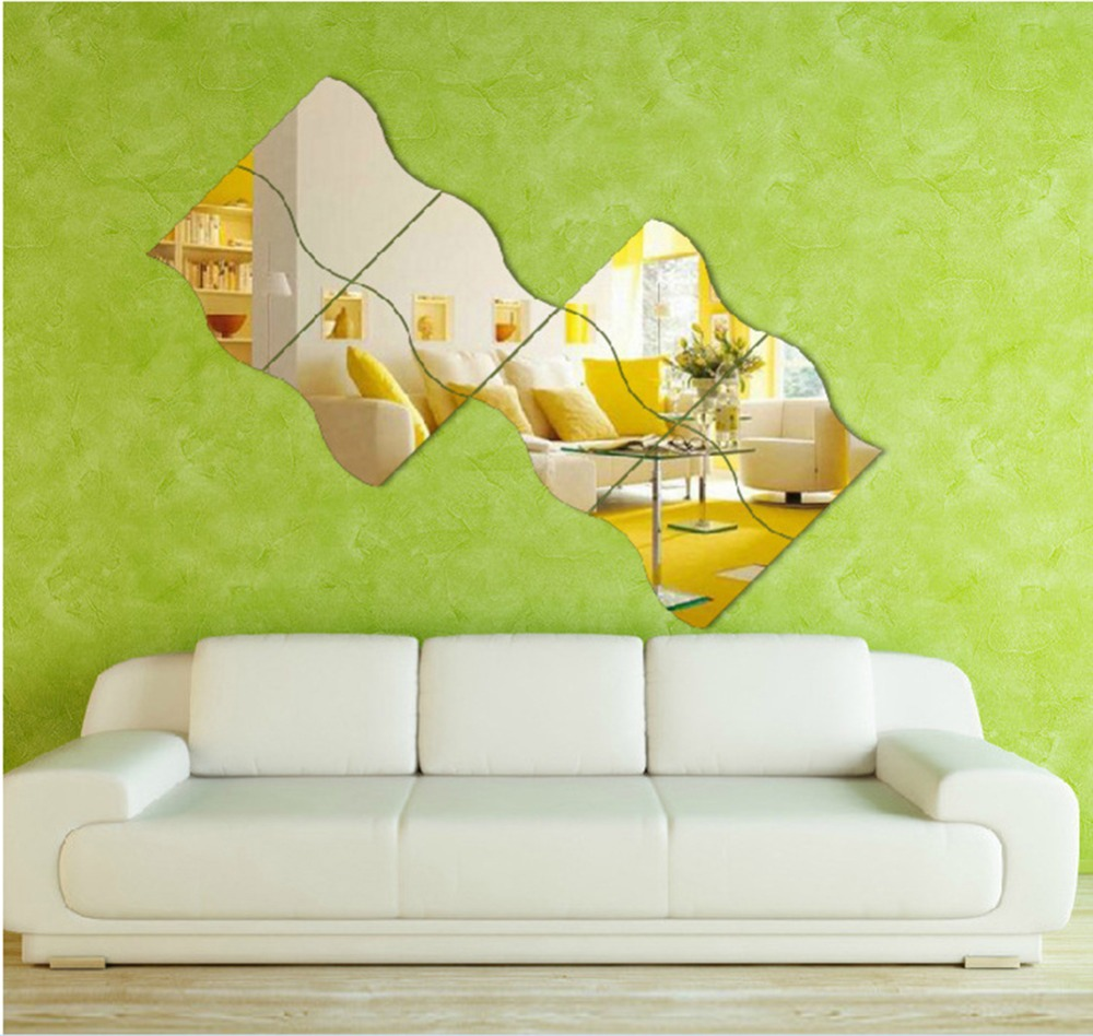 6pcs diy removable home wall mirror sticker art vinyl for Decor mural a tapisser