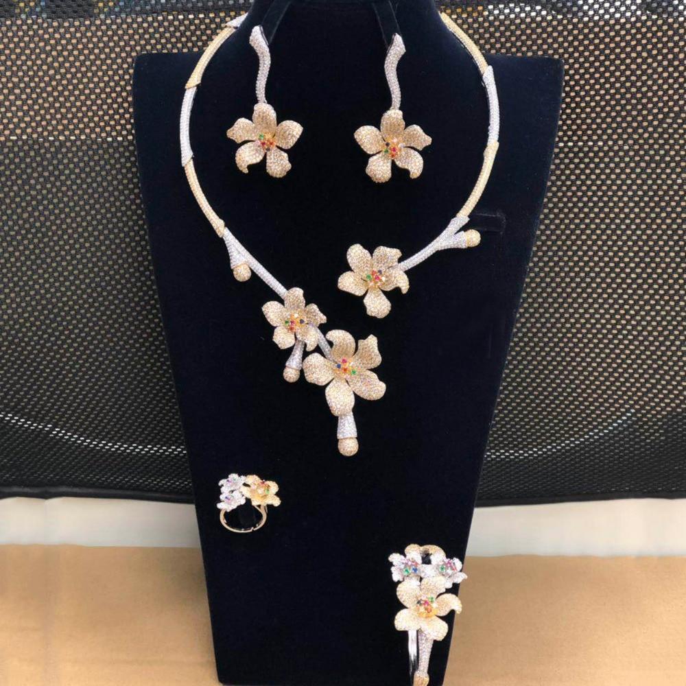 GODKI Luxury Choker Statement Necklace 4PCS Nigerian Bridal Jewelry Sets For Women Wedding Zircon Dubai Indian jewelry Sets 2019