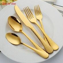 Gold Dinnerware Set 1810 Stainless Steel Cutlery Set 5 Pieces Black Knife Fork Set Tableware Silver Cutleries Western Food Set