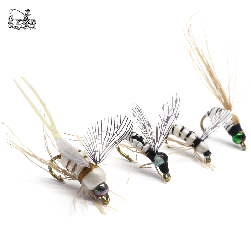 16PCS Realistic MAYFLY Fly Lures Set Dry Wet Nymphs Caddis Emerger Larvae Pupa Stonefly Fly Fishing set kits-in Fishing Lures from Sports & Entertainment