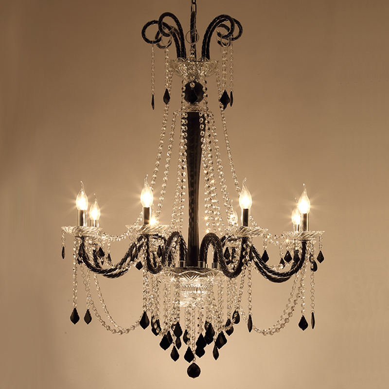 Black Crystal Chandeliers Lighting Fixture for Living Room Bedroom Mediterranean Creative Iron Pendant Lamp Restaurant CoffeeBlack Crystal Chandeliers Lighting Fixture for Living Room Bedroom Mediterranean Creative Iron Pendant Lamp Restaurant Coffee