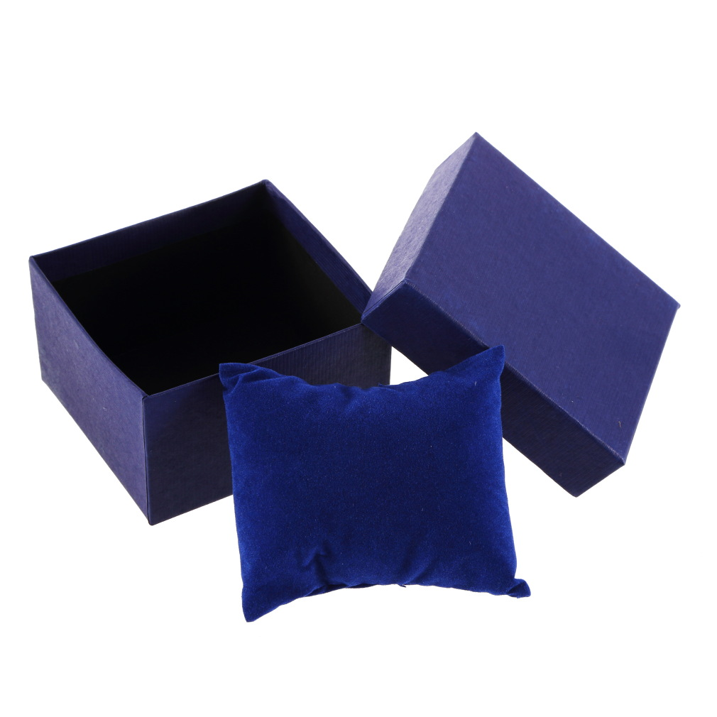 Jewelry Watch Box Case Display Packaging Holder With Foam Pad Inside Present Bangle Black Blue Color For Businessman Women Gifts