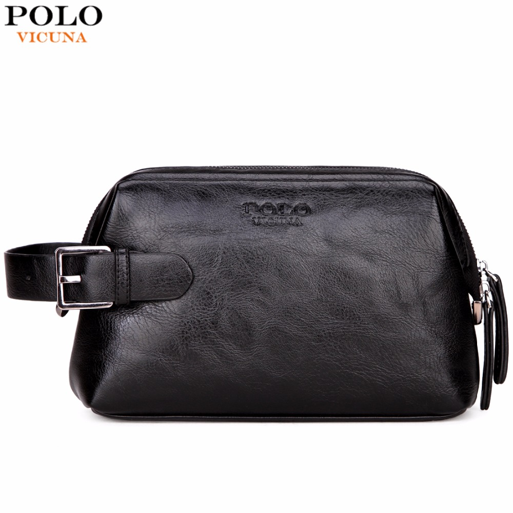 VICUNA POLO Leather Clutch Wallet Wash Bag With Buckle Man Travel Multifunction High Quality Clutch Handbag Men Business  Bags