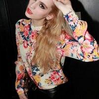 Woman Long Sleeve Top Floral Print Chiffon Shoulder Pad Casual Shirt Blouse
