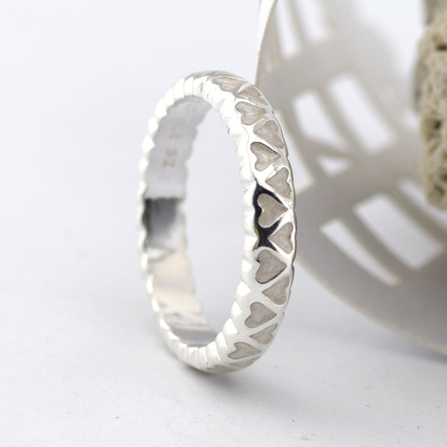 Original Heart Silve Rings With Silver Enamel 100% 925 Sterling Silver Woman Ring Fashion Jewelry For Women Wholesale