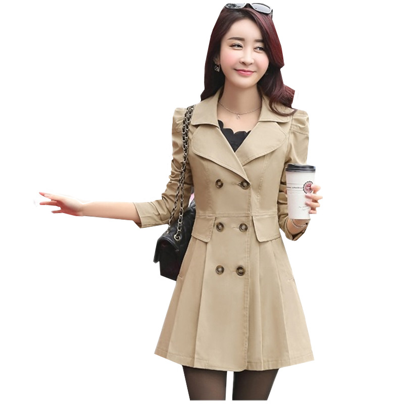 UHYTGF Female Windbreaker Coat Double-breasted Tops Casual style New Spring Autumn Trench Coats Women Slim Wild Medium length 49