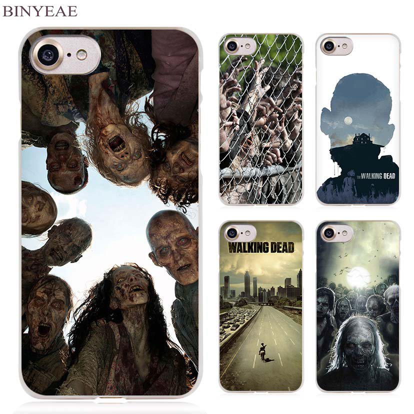 BINYEAE The Walking Dead Zombie Clear Cell Phone Case Cover for Apple iPhone 4 4s 5 5s SE 5c 6 6s 7 Plus