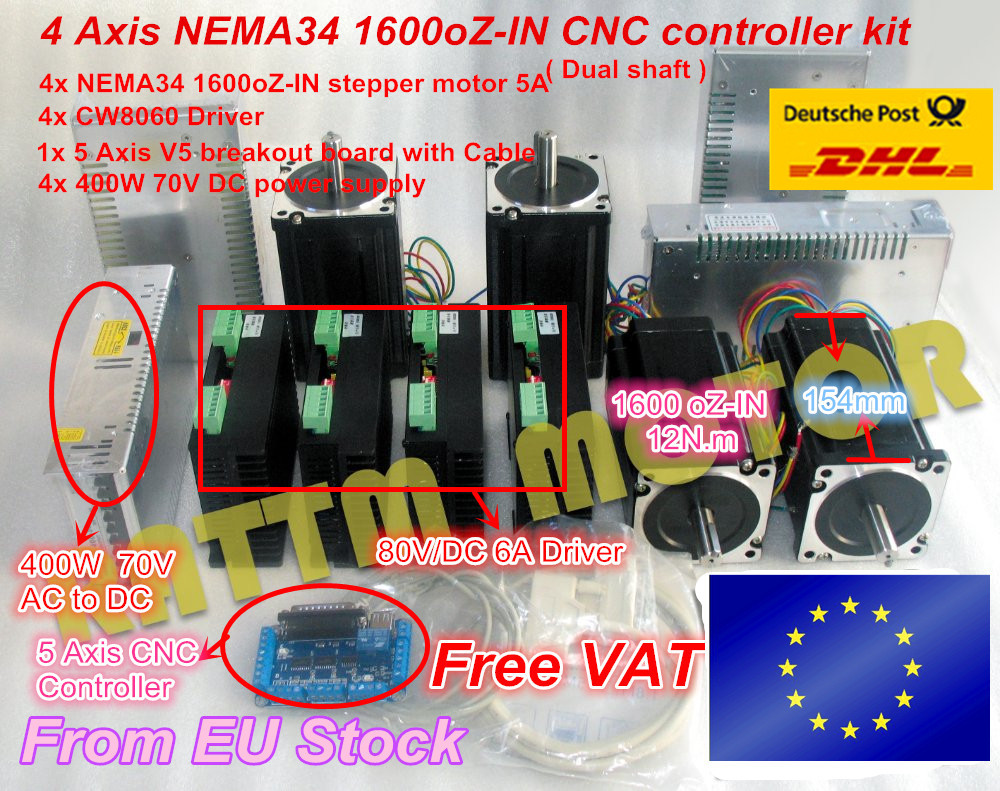 цены 4 Axis NEMA34 1600 oz-in Dual shaft torque stepper motor + CW8060 driver 6A 80V/DC CNC controller Kit for Large size Router Mill