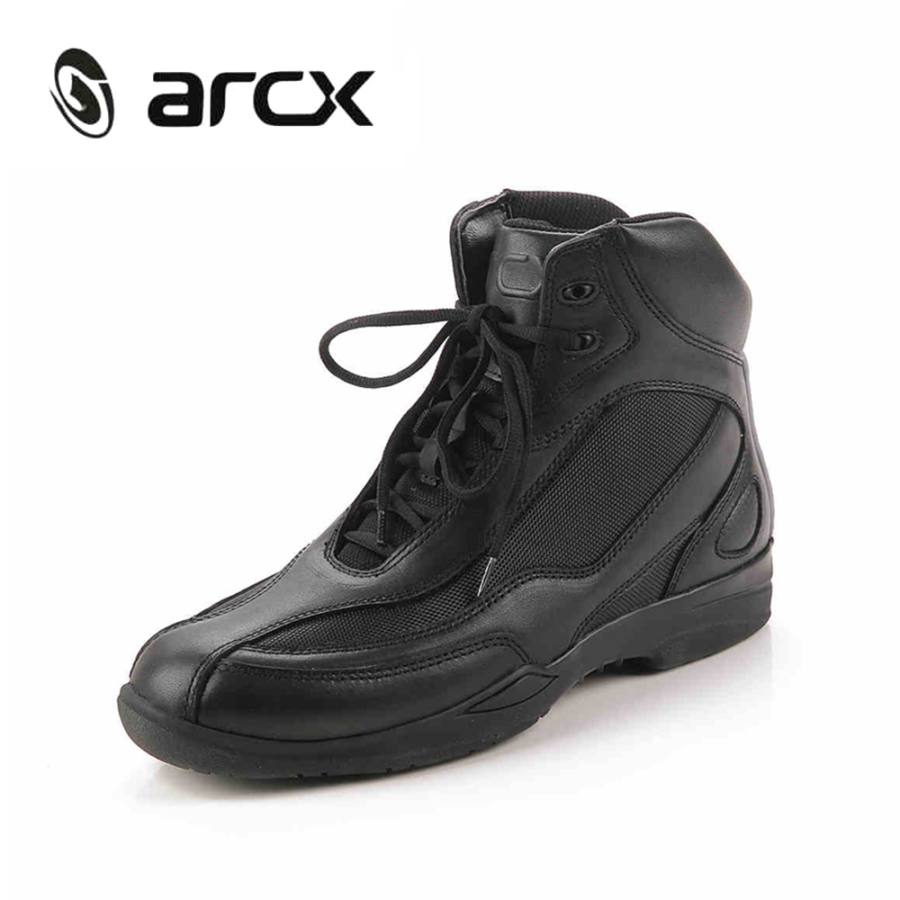 цена на ARCX Motorcycle Riding Shoes Genuine Cow Leather Street Moto Road Racing Motorbike Chopper Cruiser Touring Biker Ankle Boots