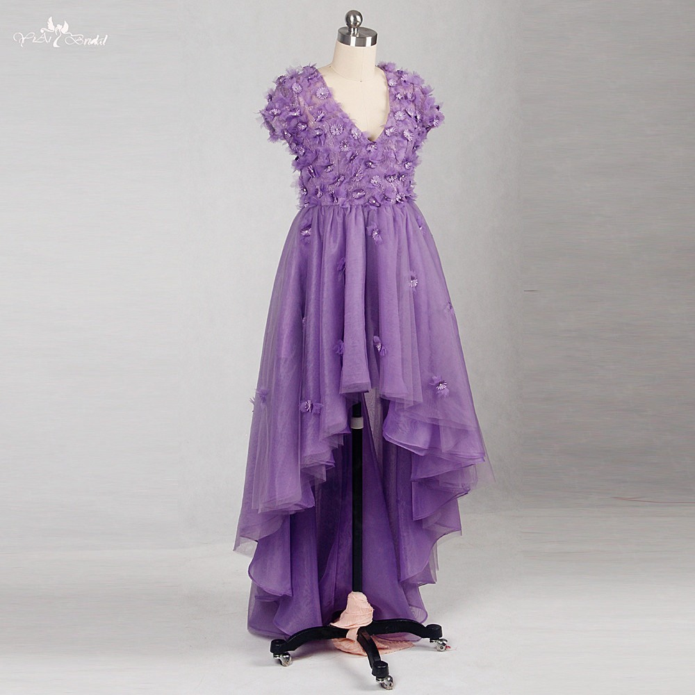 RSE827 Yiaibridal Real Job Girls V Neck 3d Flower Purple High Low   Prom     Dresses   Short In Front Long Back