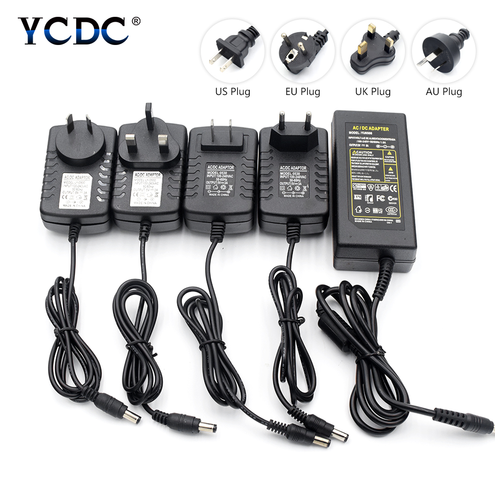 Black DC 5V 3A 5A 6A 8A Charger Universal AC100-240V Power Supply Adapter Converter Transformer Driver US/EU/UK/AU Plug цены