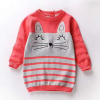 Autumn Knit Baby Girls Dress Cute Kitten Pattern Sweaters Dresses For Girls Casual Knitted Kids Dress