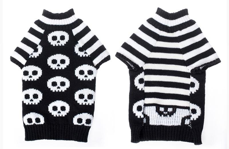 Mascota de Halloween cráneo suéter rayas manga gatos y perros ropa ...