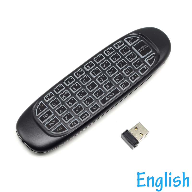 Actief [100 Stks/partij] C120 Rgb Backlit 2.4g Mini Wireless Keyboard Gyroscoop Air Mouse Voor Android Tv Box, Mini Pc/projectoren/laptops Laatste Stijl
