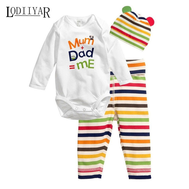Baby Clothes Jumpsuit + Long Pants + Cap Newborn Baby Clothing Set I Love Dad & Mom Baby Boys Girls Clothes Spring Autumn