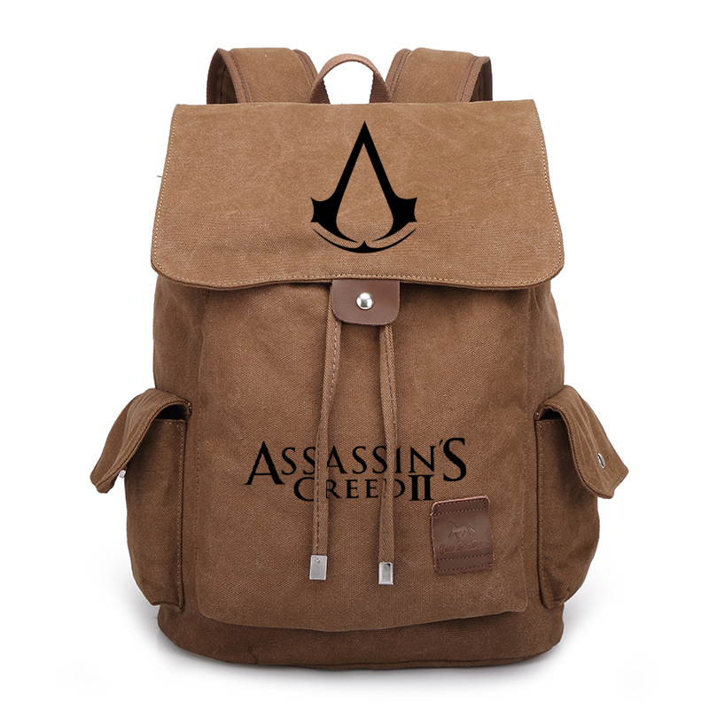 Vintage Style Assassins Creed Printed Bag Backpack Travel Canvas Book School Men Women Boy Girls Bag Gift