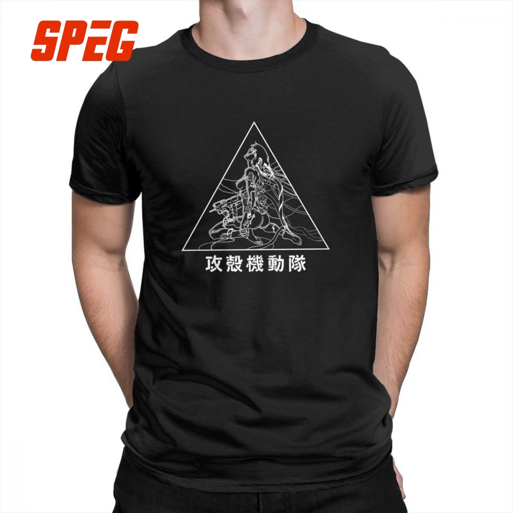 Major Ghost In The Shell   T     Shirts   Men's Short-Sleeve Summer Style Casual   T  -  Shirts   Round Collar Pure Cotton Stylish Tee   Shirts