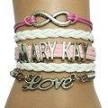 De la gota libre Mary Kay pulsera pulsera Pink con blanco Leather amistad cosméticos hechos a mano