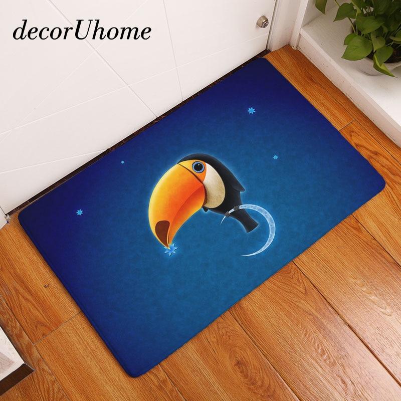 decorUhome Anti-Slip Floor Mat Waterproof Vintage Cartoon Moon Night Carpet Bedroom Rugs Decorative Stair Mats Home Decor Crafts