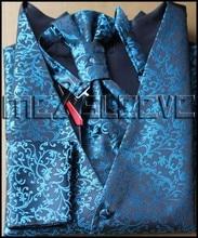 Tuxedo Waistcoat Vest Men Blue Flower designs sets