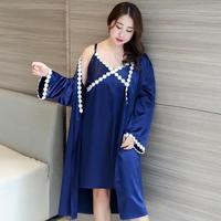 Plus Size Female Lace Nightie&Robe Set Satin Solid 2PCS Sleepwear Sexy Twinset Robe Suit Floral Kimono Bath Gown Oversize XXXL