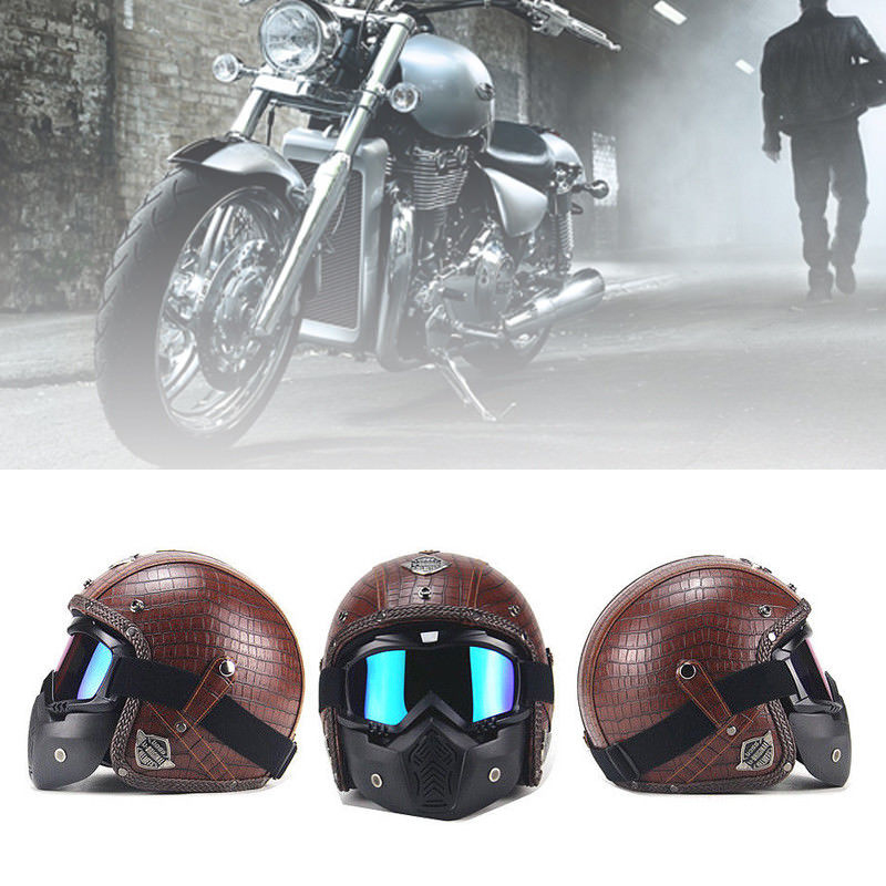 Brown Motorcycle Helmets 3/4 Open Helmet PU Leather + Goggle Mask Vintage Style XLL