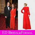 Kate Middleton Red Dress Modest Long Sleeves Celebrity Evening Prom Formal Pageant Gown