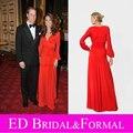 Kate Middleton Vestido Rojo de Manga Larga Modesta Celebridad de Noche de Baile Vestido Desfile Formal
