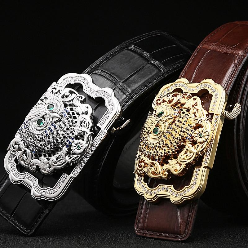 Luxury Genuine Crocodile Leather Belt Men High end Stainless Steel Buckle Rhinestone Owl Design Waist Belt Crocodile Skin Male - 3