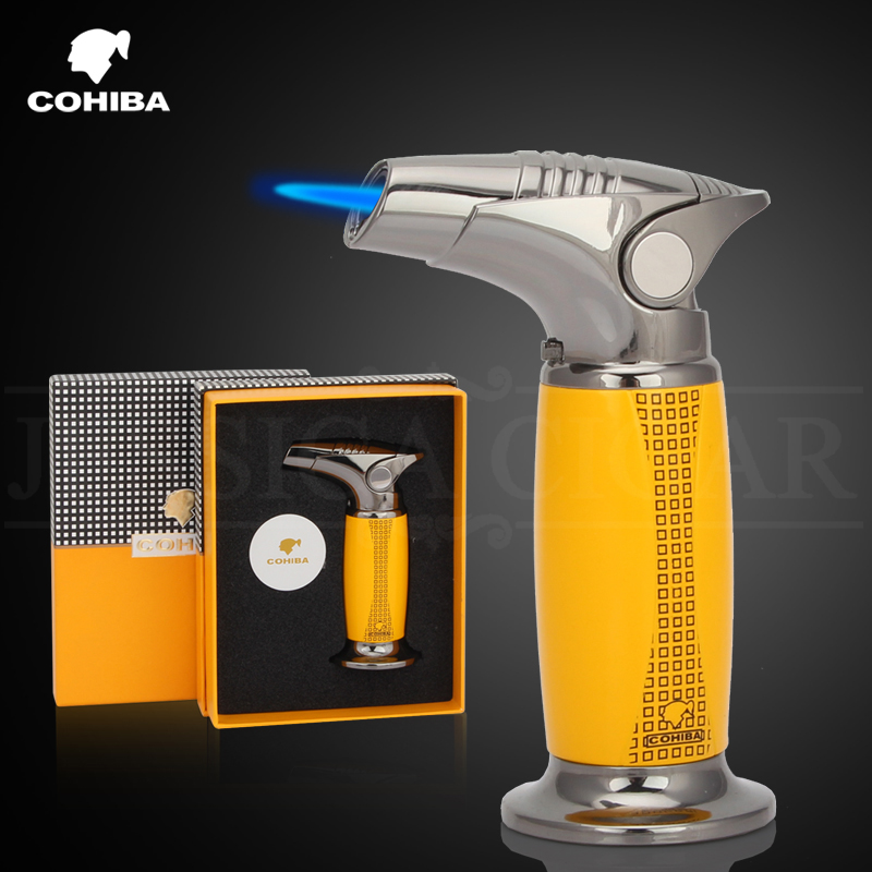 COHIBA Luxury Table Torch Lighters Windproof Butane Gas Jet Red Flame Fire Cigar Cigarette Lighter With Gift BoxCOHIBA Luxury Table Torch Lighters Windproof Butane Gas Jet Red Flame Fire Cigar Cigarette Lighter With Gift Box