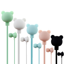 Colorful Cartoon Cute girl Earphone Studio with Mic Button Remote Bear Earpod fo